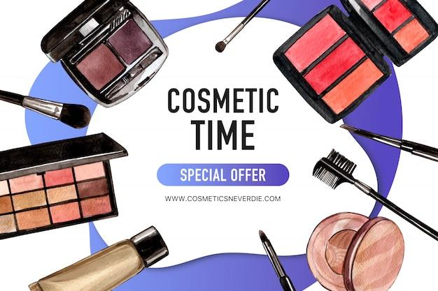 Publicación cosmética en redes sociales con paleta de cejas, sombra de ojos
