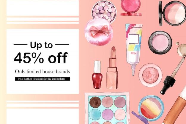 Publicación cosmética en redes sociales con pincel, base, lápiz labial