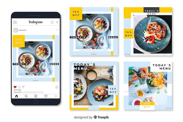 Publicación culinaria de instagram con imagen