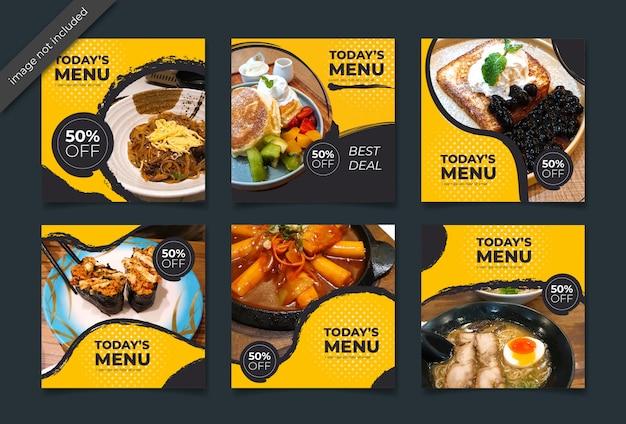 Publicación culinaria de instagram o colección de pancartas cuadradas