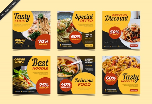 Publicación culinaria de instagram para restaurante de comida