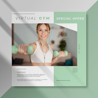 Publicación deportiva de facebook de gimnasio virtual