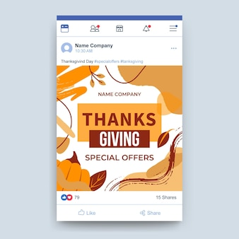Publicación de facebook de acción de gracias
