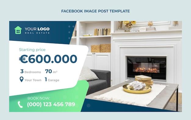 Publicación de facebook de bienes raíces geométricas abstractas de diseño plano
