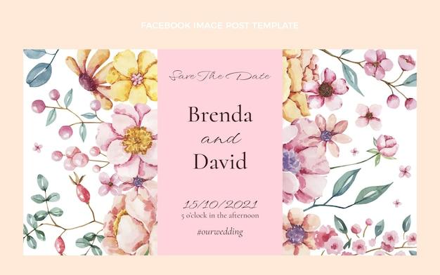 Publicación de facebook de boda dibujada a mano en acuarela