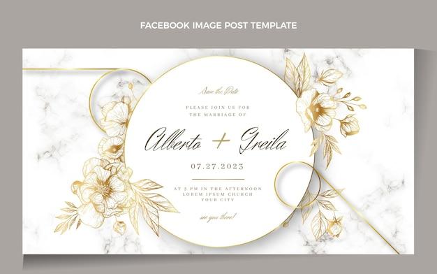 Publicación de facebook de boda dorada de lujo realista