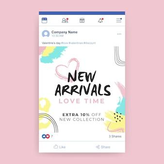 Publicación de facebook colorida pintada abstracta del día de san valentín