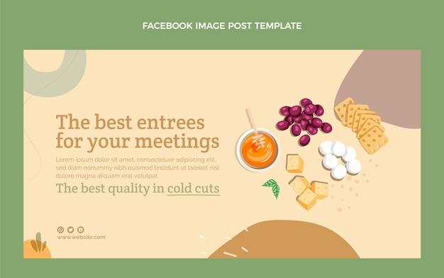 Publicación de facebook de comida de diseño plano