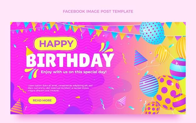 Publicación de facebook de cumpleaños colorido degradado vector gratuito