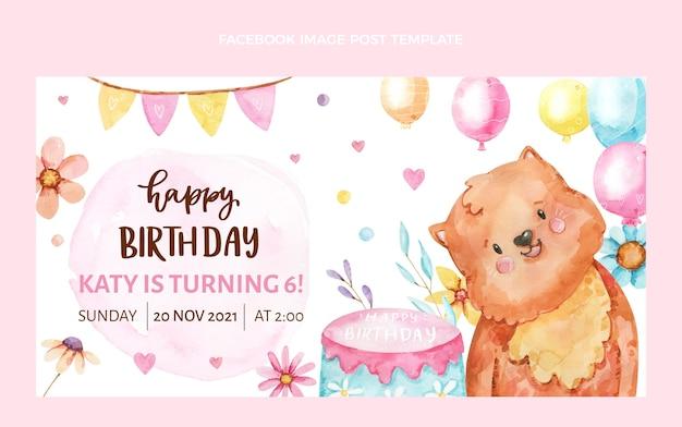 Publicación de facebook de cumpleaños dibujada a mano en acuarela