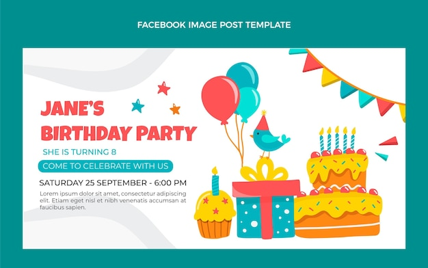 Publicación de facebook de cumpleaños infantil dibujada a mano