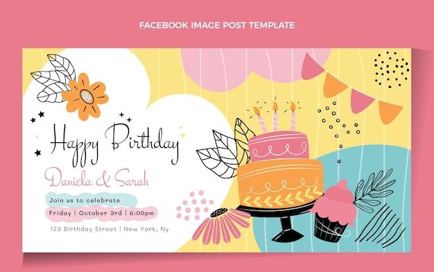 Publicación de facebook de cumpleaños minimalista plana