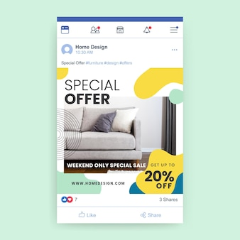 Publicación de facebook de diseño colorido abstracto