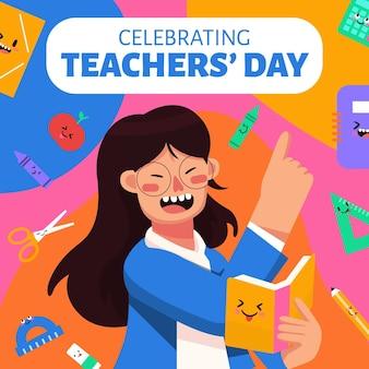 Publicación de facebook divertida colorida del día del maestro