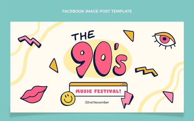 Publicación de facebook del festival de música de los 90 dibujada a mano