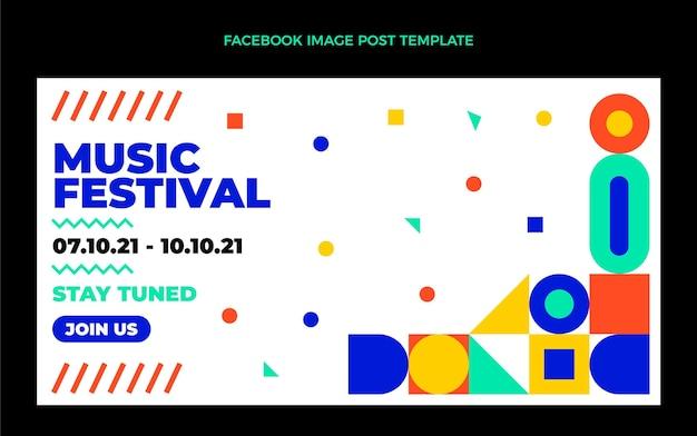 Publicación de facebook del festival de música de mosaico de diseño plano