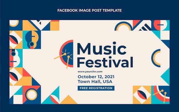 Publicación de facebook del festival de música de mosaico plano