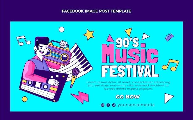 Publicación de facebook del festival de música nostálgica de los 90 dibujados a mano
