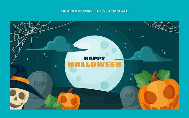 Publicación de facebook de halloween de diseño plano