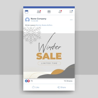Publicación de facebook de invierno elegante abstracto