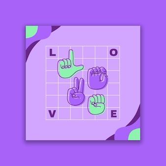 Publicación de facebook de lenguajes de signos duotono modernos