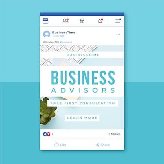 Publicación de facebook de negocios con fotos y texto