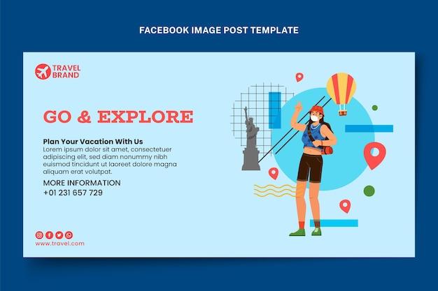 Publicación de facebook plana de viajes
