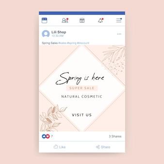 Publicación de facebook de primavera elegante geométrica