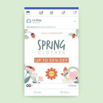 Publicación de facebook de primavera floral infantil