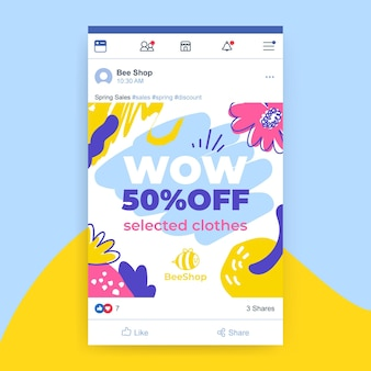 Publicación de facebook de primavera infantil pintada abstracta