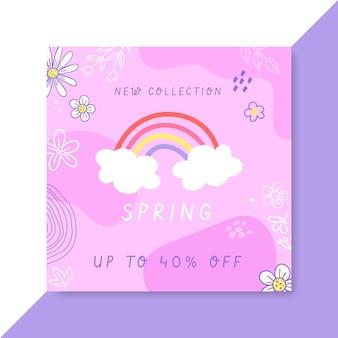 Publicación de facebook de primavera tipo doodle infantil