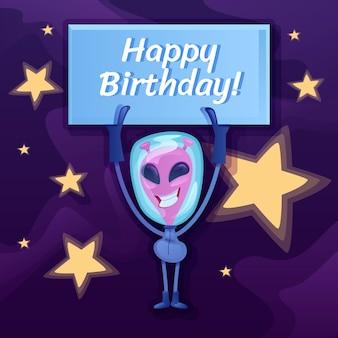 Publicación de feliz cumpleaños en las redes sociales. frase de saludo. plantilla de diseño de banner web. alien sonriente con banner booster, diseño de contenido con inscripción. cartel, anuncios impresos e ilustración plana.