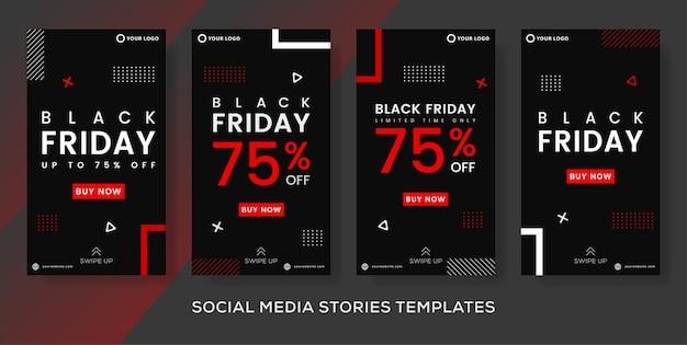 Publicación de historias de banner de evento de viernes negro de venta de moda.