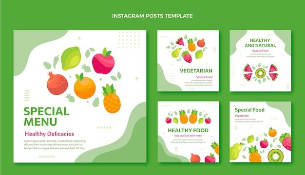 Publicación de ig de comida de diseño plano