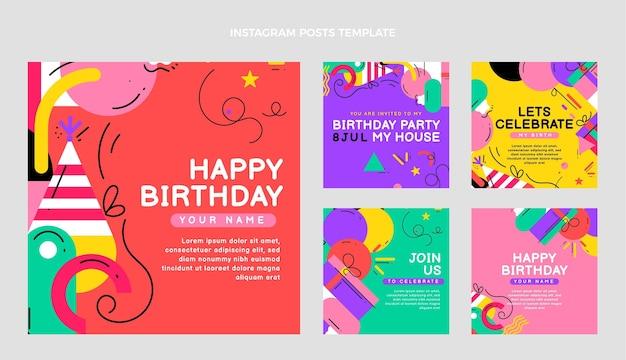 Publicación de ig de cumpleaños de mosaico plano