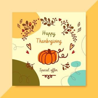 Publicación de instagram de acción de gracias con calabaza y saludo