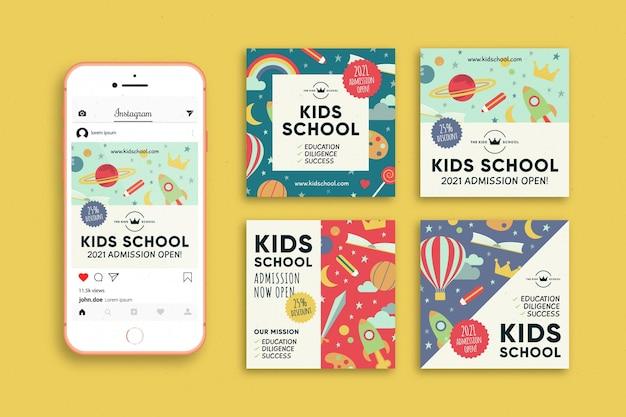 Publicación de instagram de admisión escolar para niños