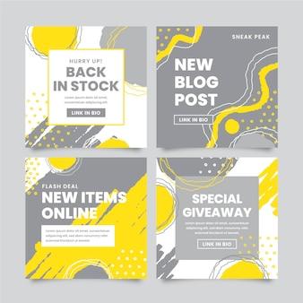 Publicación de instagram amarilla y gris