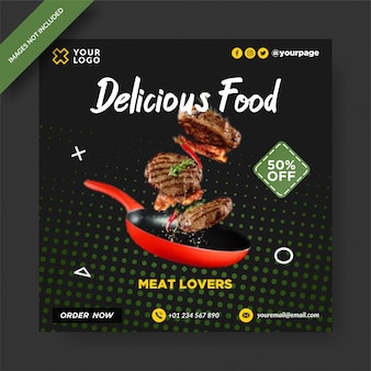 Publicación de instagram de banner de comida deliciosa