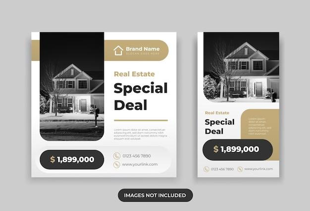 Publicación de instagram de bienes raíces y plantilla de diseño de historia
