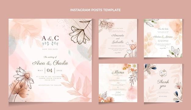 Publicación de instagram de boda dibujada a mano en acuarela