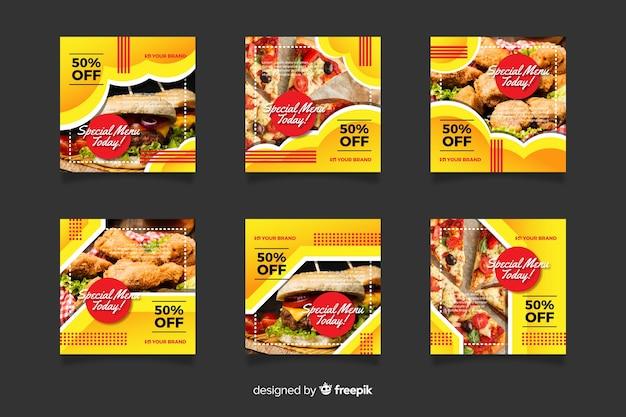 Publicación de instagram con colección de comida