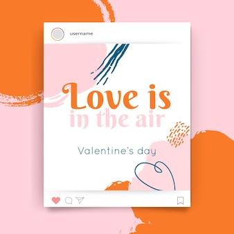 Publicación de instagram colorida pintada abstracta del día de san valentín