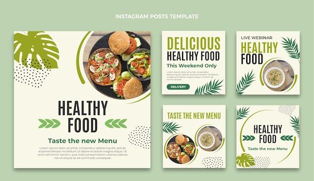 Publicación de instagram de comida de diseño plano