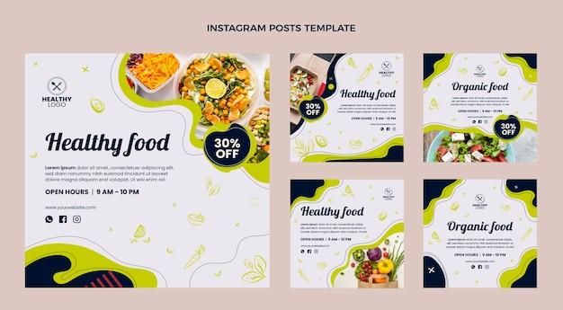 Publicación de instagram de comida sana de diseño plano