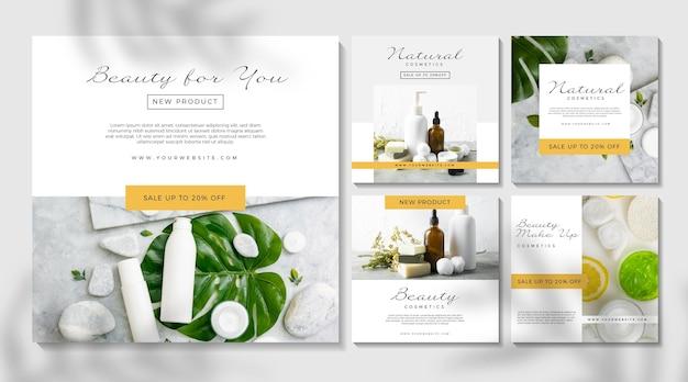 Publicación de instagram cosmética con productos para el cuidado de la piel