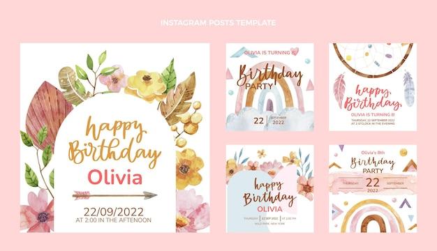 Publicación de instagram de cumpleaños boho acuarela