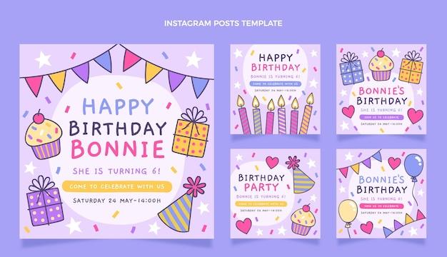 Publicación de instagram de cumpleaños infantil dibujada a mano