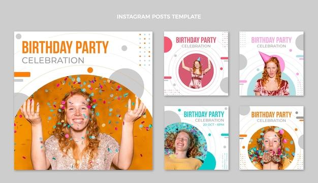 Publicación de instagram de cumpleaños minimalista de diseño plano