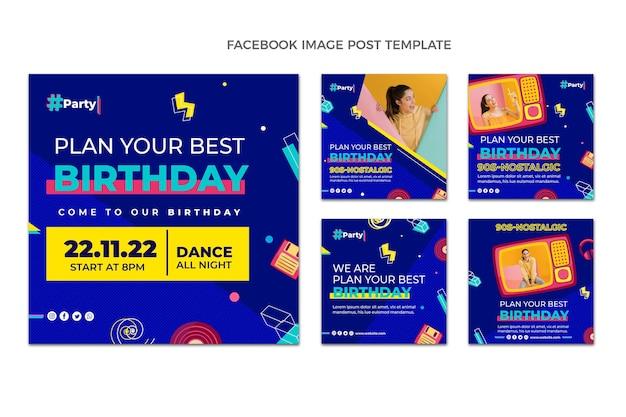 Publicación de instagram de cumpleaños de mosaico plano